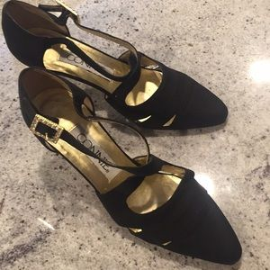 Connie Satin Evening Heels, Gold & Crystal Buckles